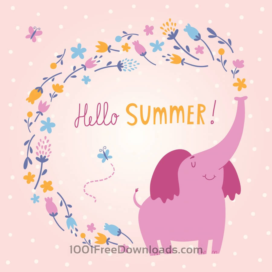 Hello Summer vector card with cute elephant
