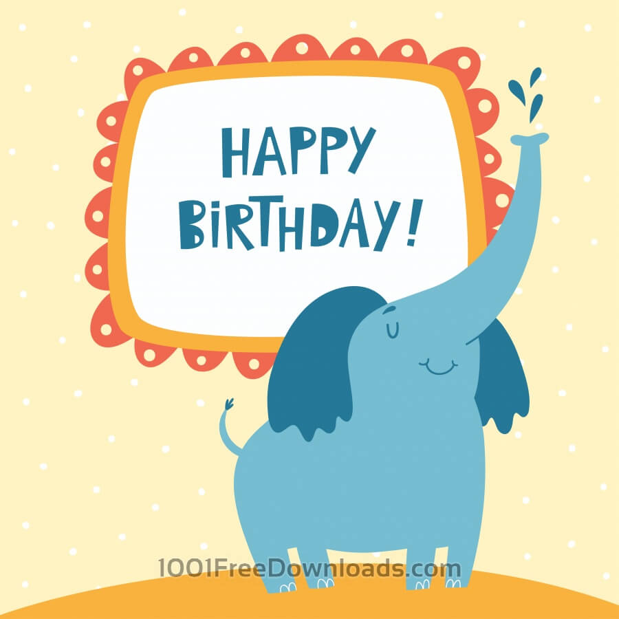 Free Happy Birthday card with cute elephant