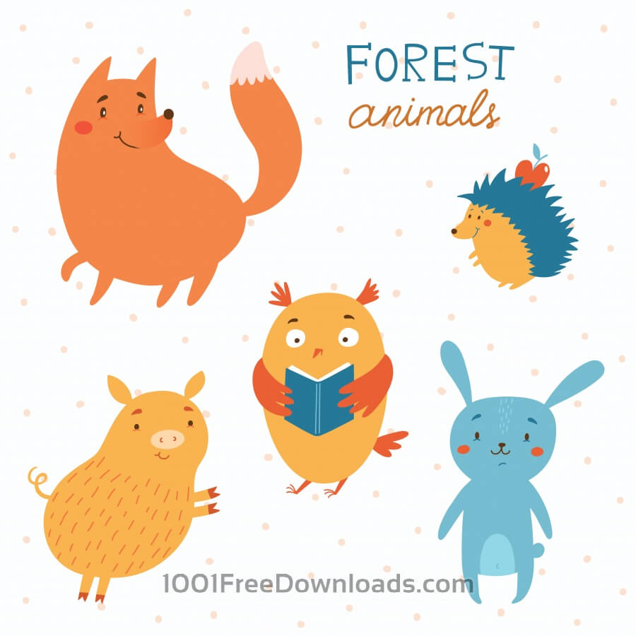 Free Forest animals vector set