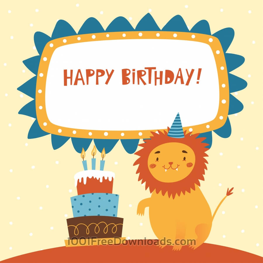 Free Vectors: Happy Birthday card with cute lion | Abstract