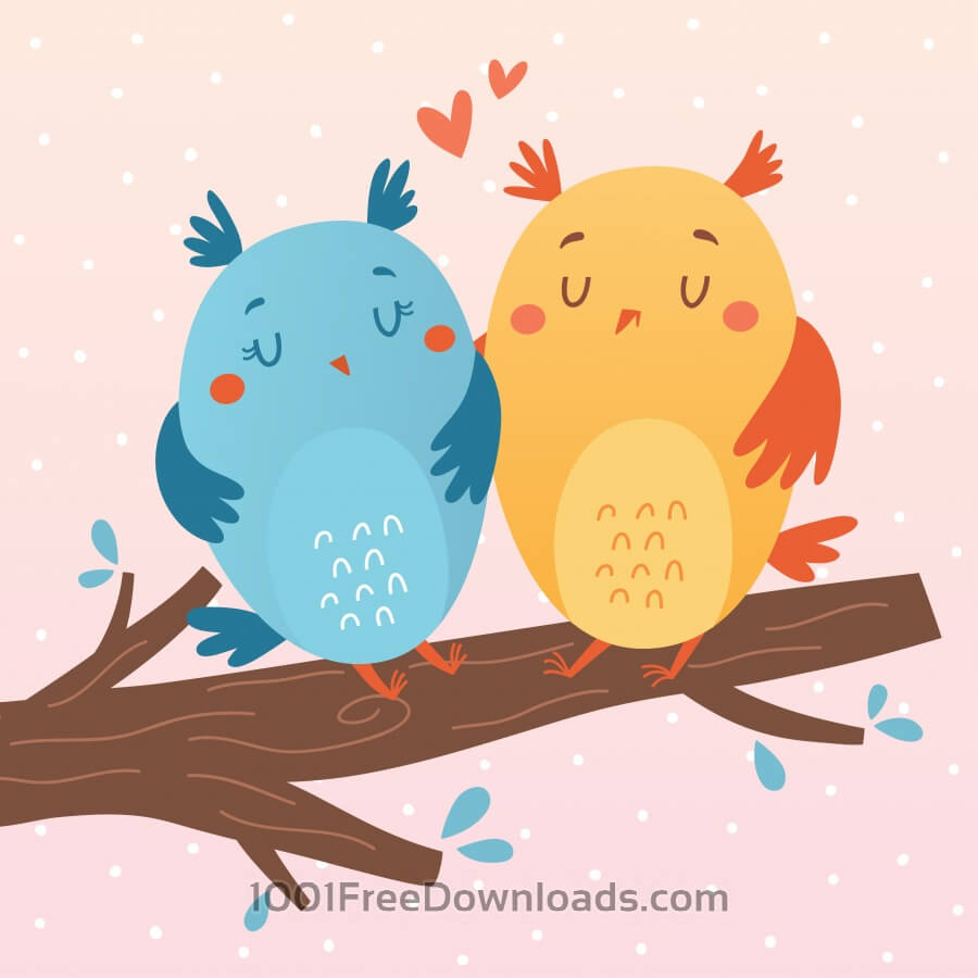 Free Vector illustration of owls in love
