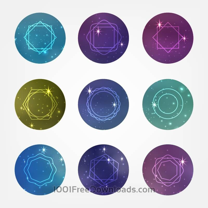 Free Starry circles set with Hipster Style Icons for Logo Design