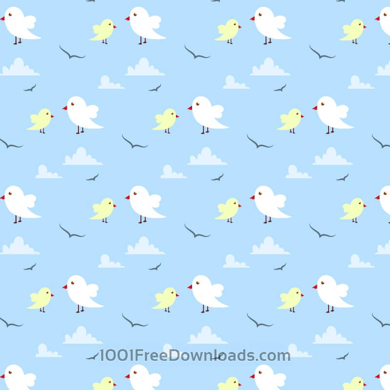 Free Seamless pattern with cute birds and clouds