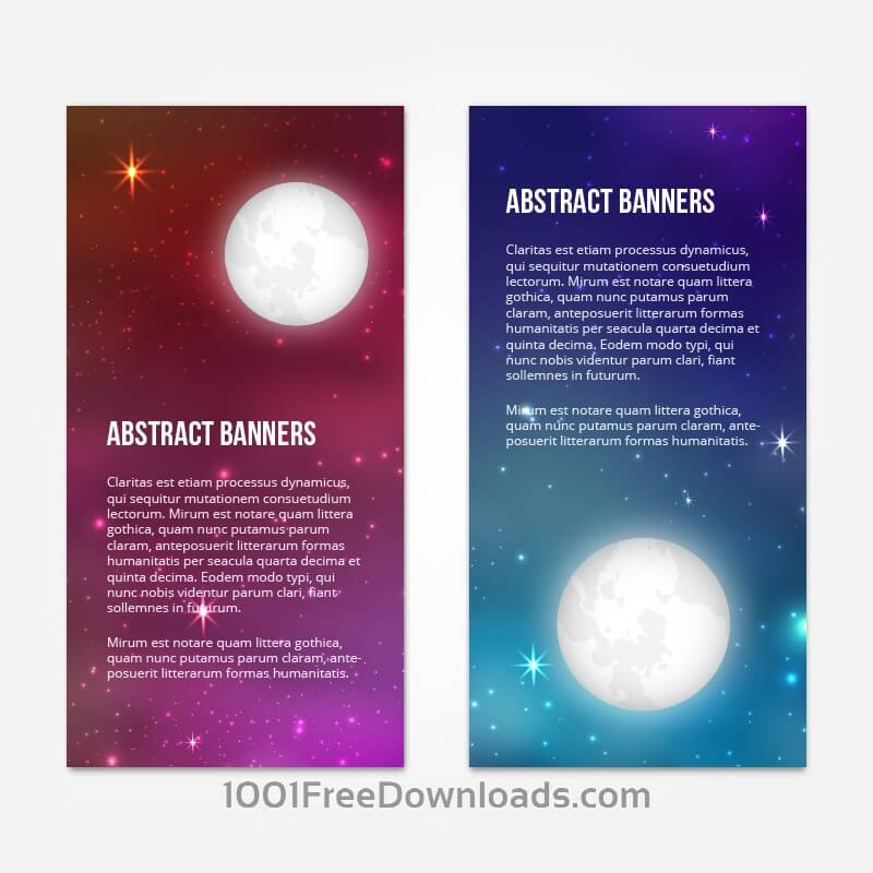 Free Vectors: Starry sky banners design | Abstract
