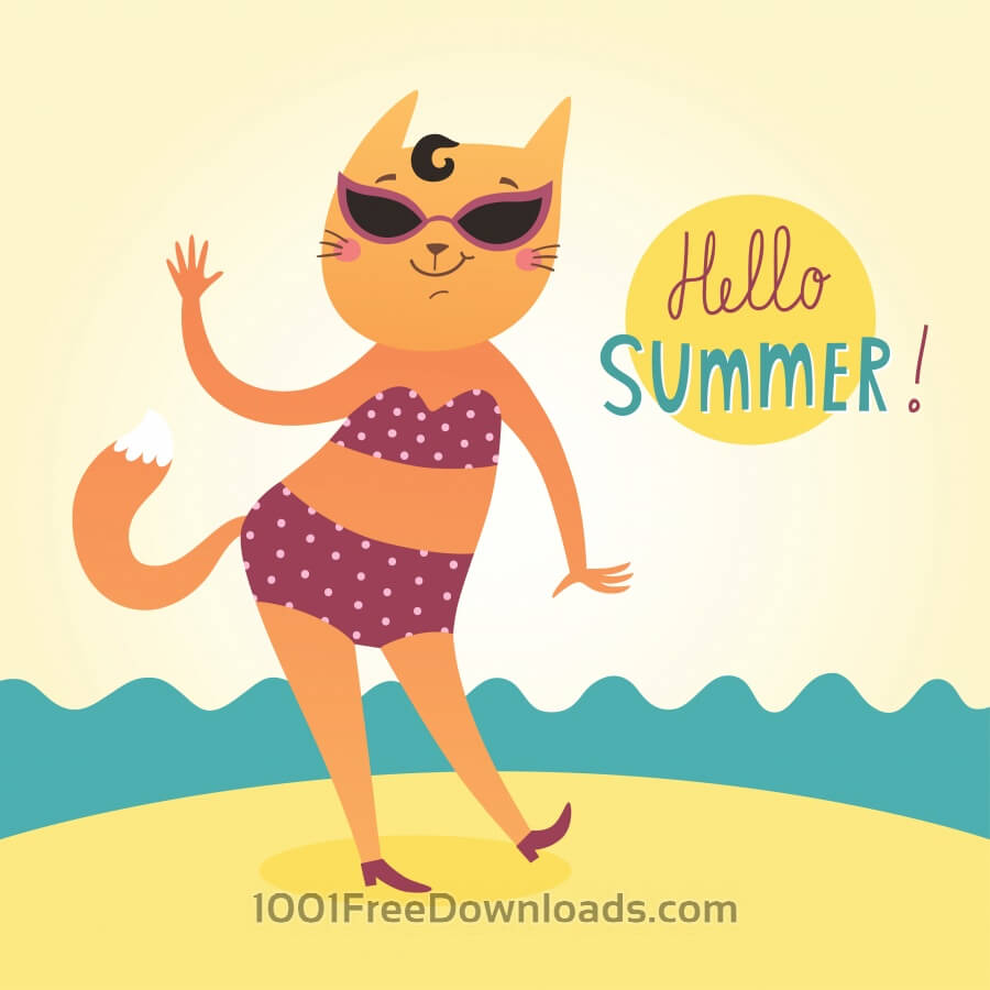 Free Vectors: Hello Summer vector card with funny cat | Abstract