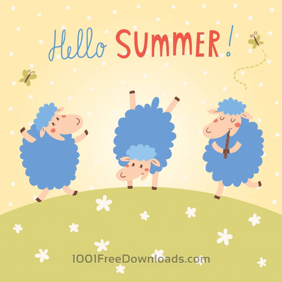 Free Hello Summer vector card with cute sheeps