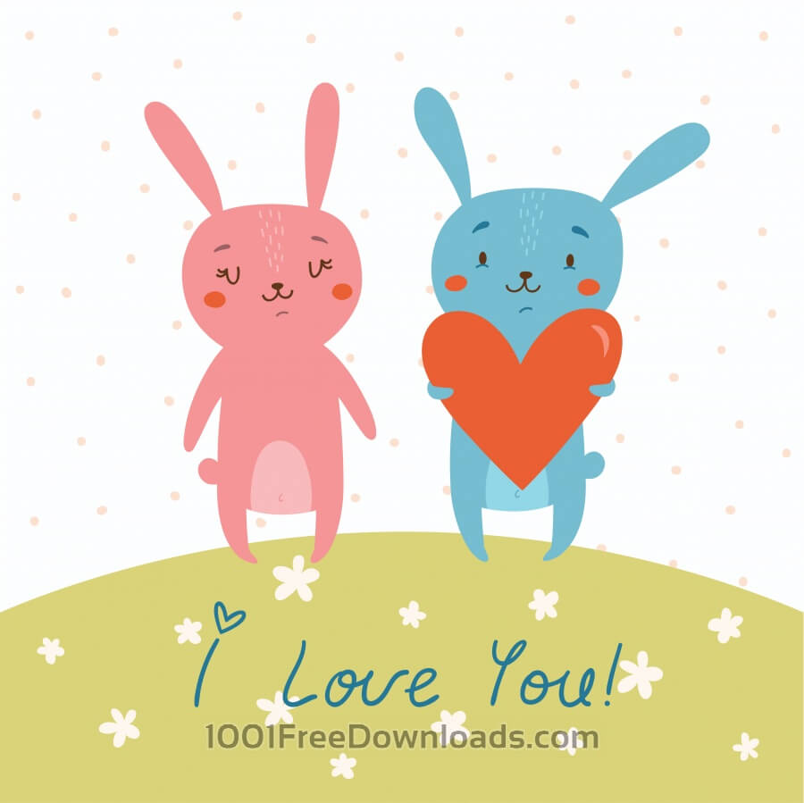 Free Vector card with cute bunnies in love
