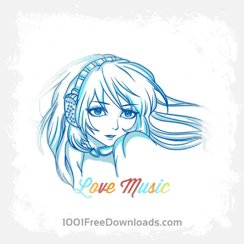 Free Vectors: Music illustration with woman | Backgrounds