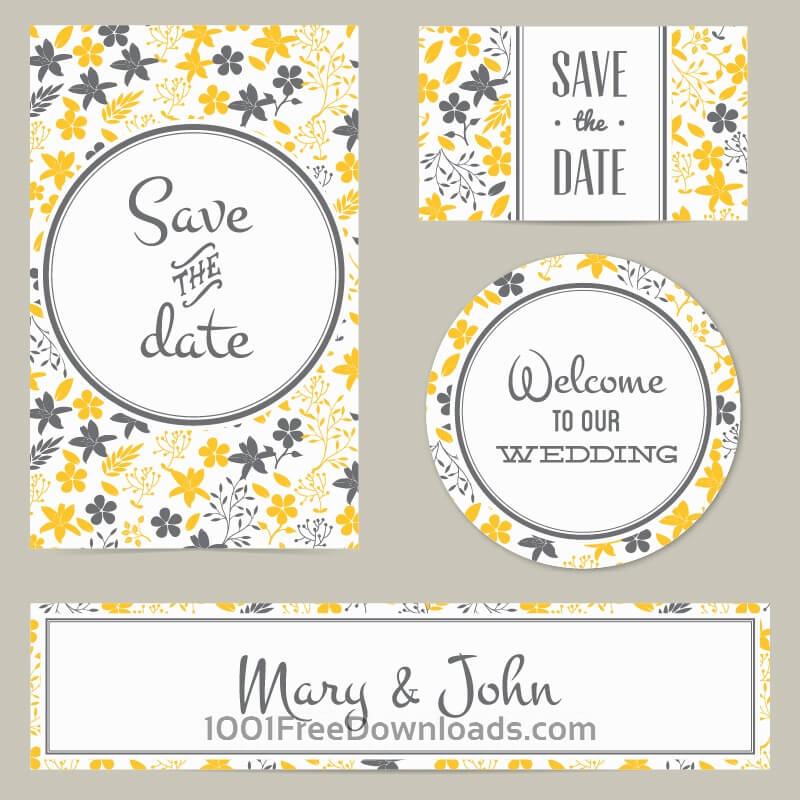 Free Floral wedding cover and card