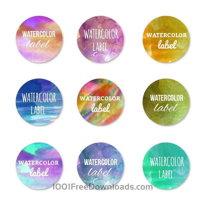 Free Vectors: Watercolor set of labels | Abstract