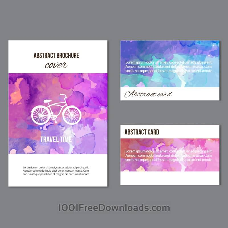 Free Vectors: Watercolor brochure and cards | Abstract