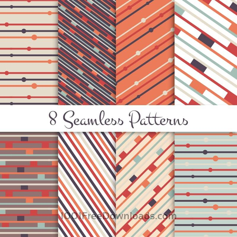 Free Vectors: Retro lines seamless patterns set | Abstract