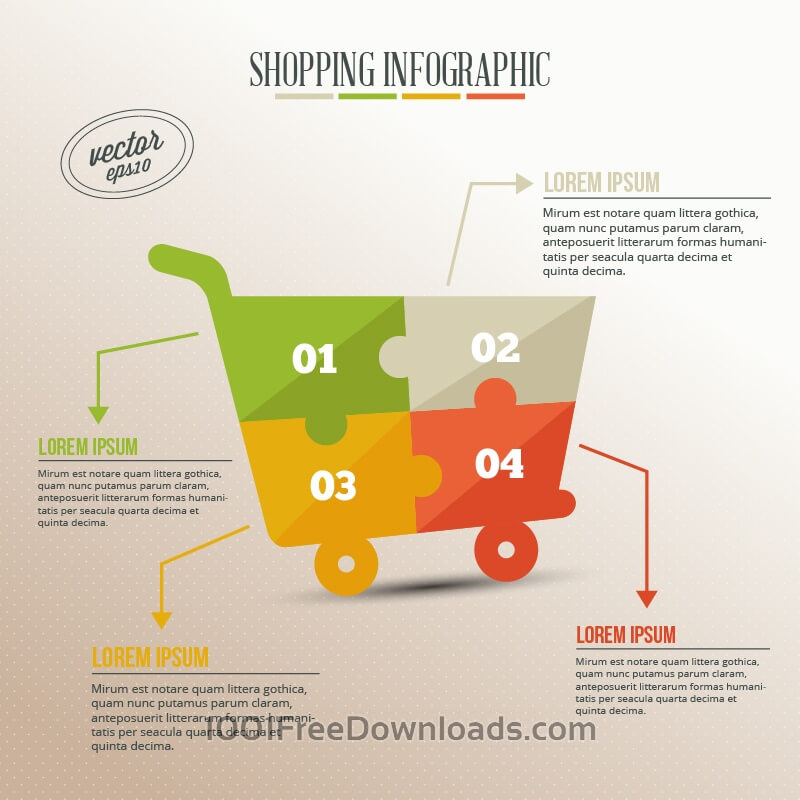 Free Business infographic, puzzle of shopping cart