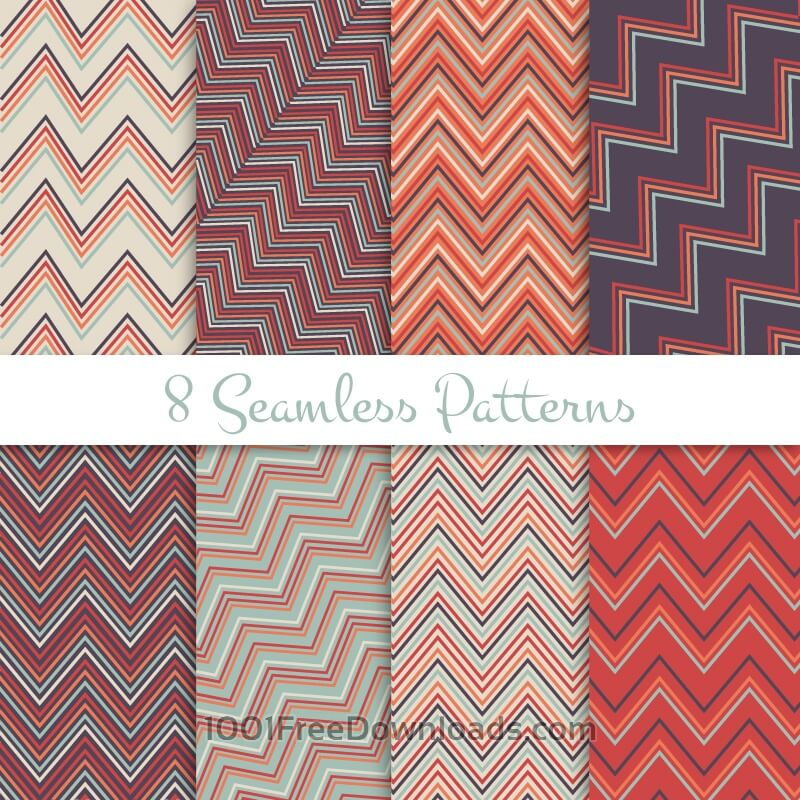 Free Vectors: Retro seamless zig zag patterns set | Abstract