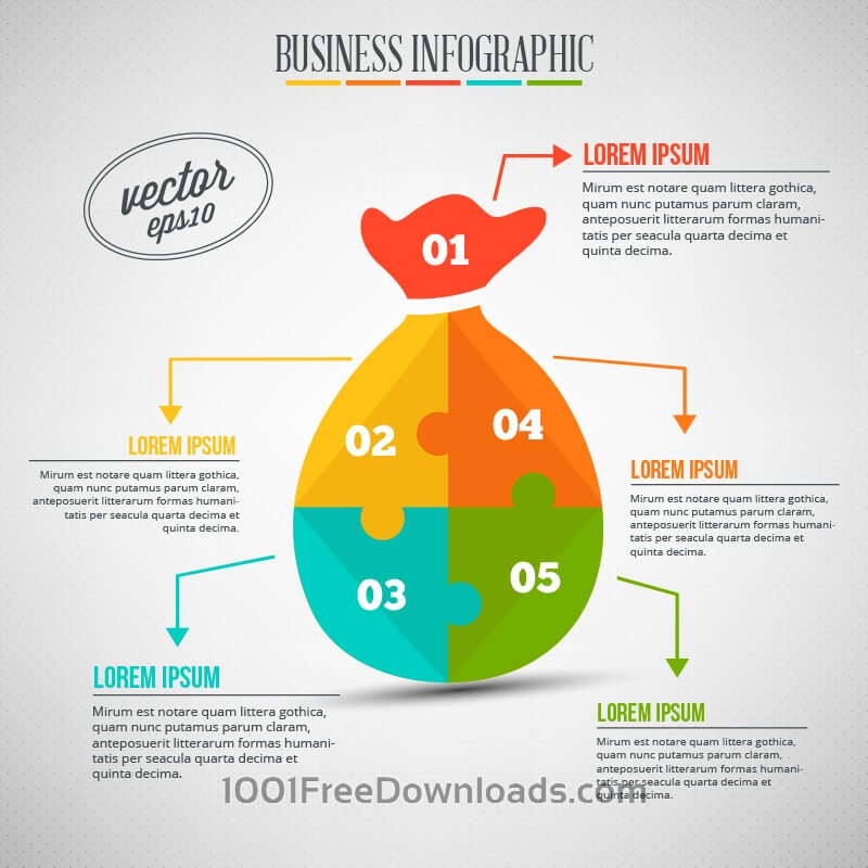 Free Vectors: Business infographic, puzzle of a money bag | Abstract