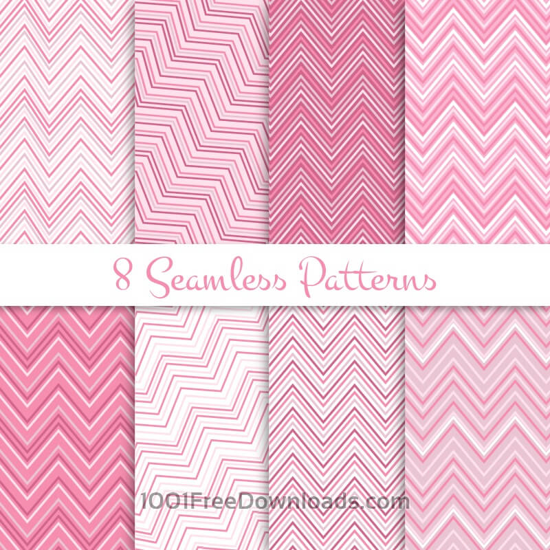 Free Pink zig zag seamless patterns set