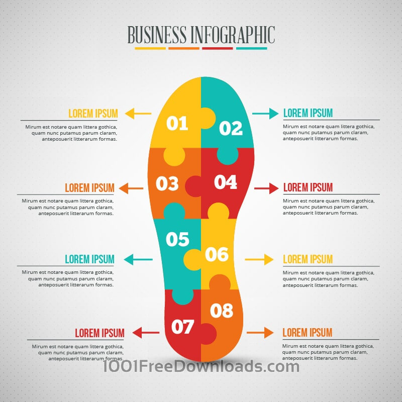 Free Business infographic, puzzle of a shoe shape