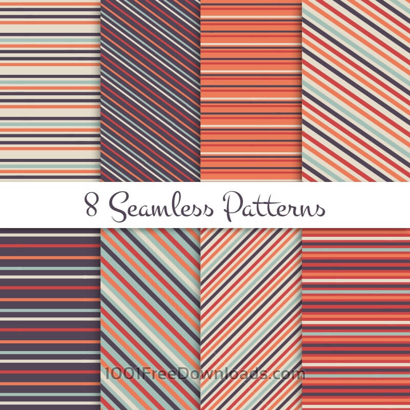 Free Retro striped seamless patterns set