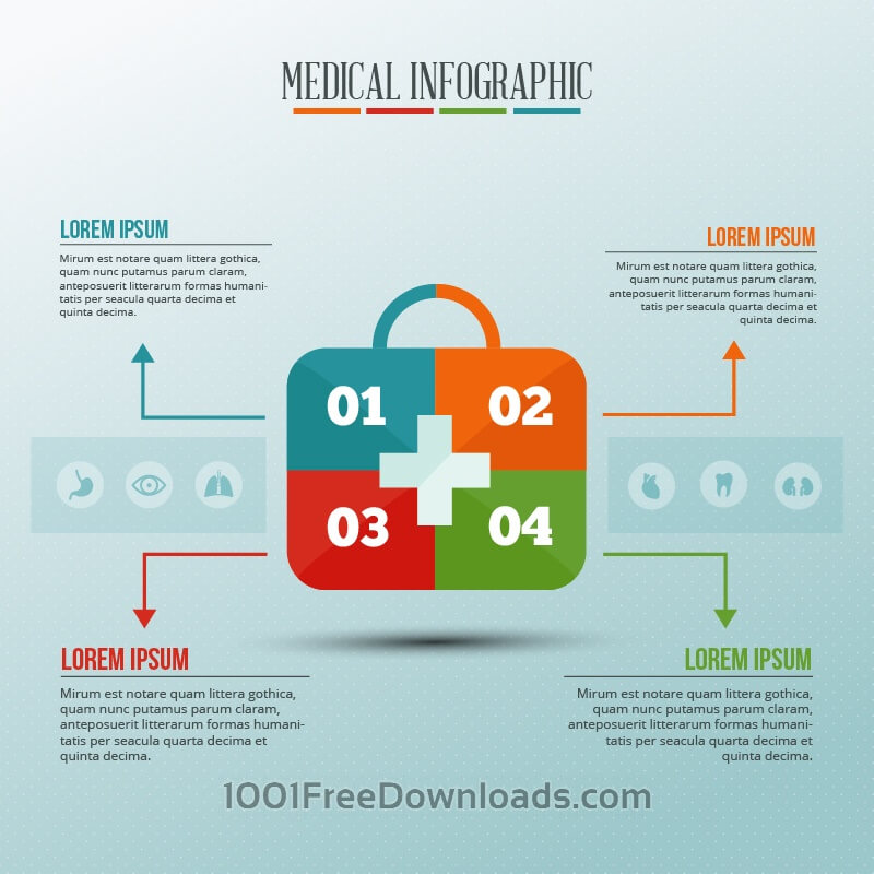 Free Vectors: Infographic template with medical kit puzzle | Abstract