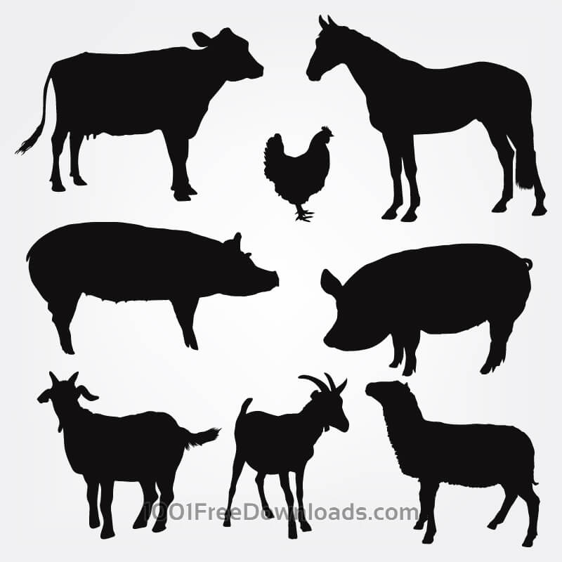 Free Vector Farm Animals Silhouettes