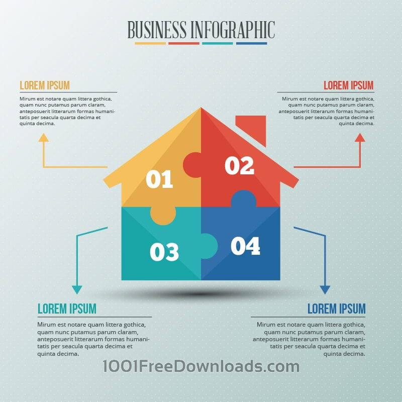 Free Infographic template with puzzle style house