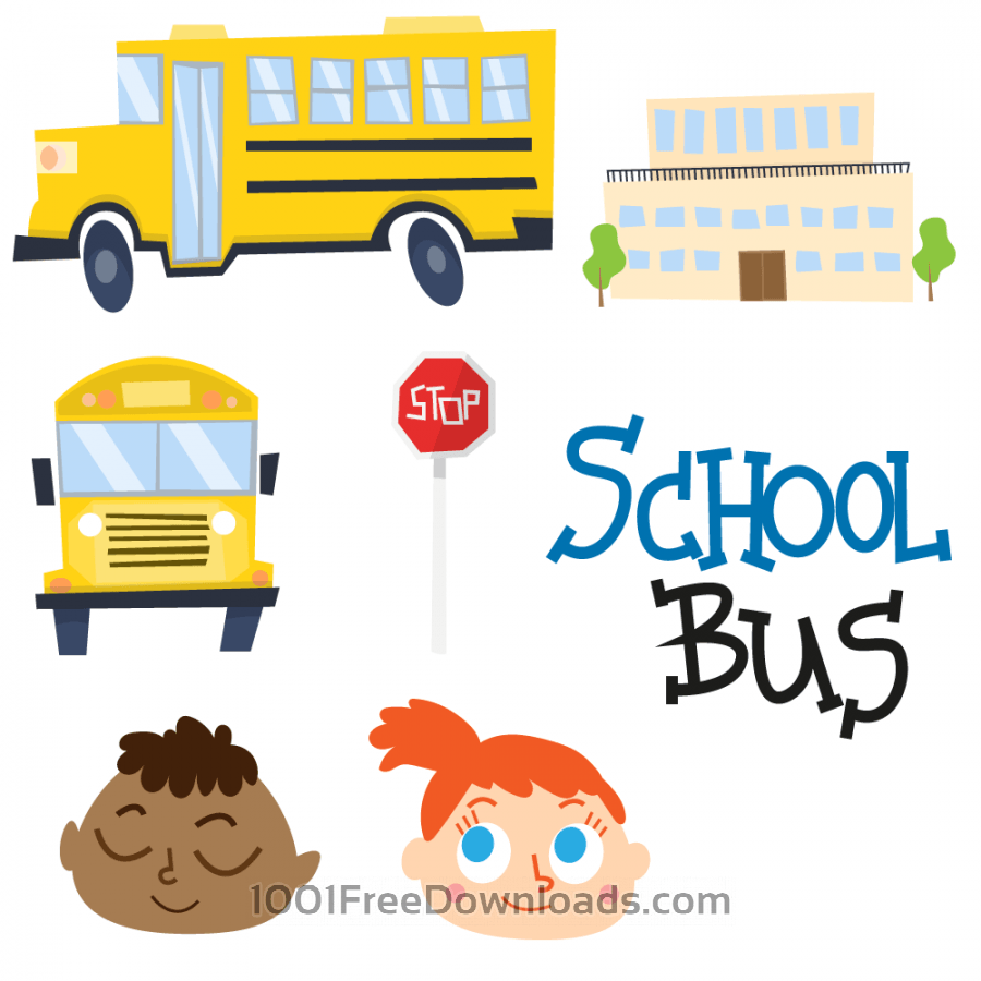 Free Cute school bus and school vectors