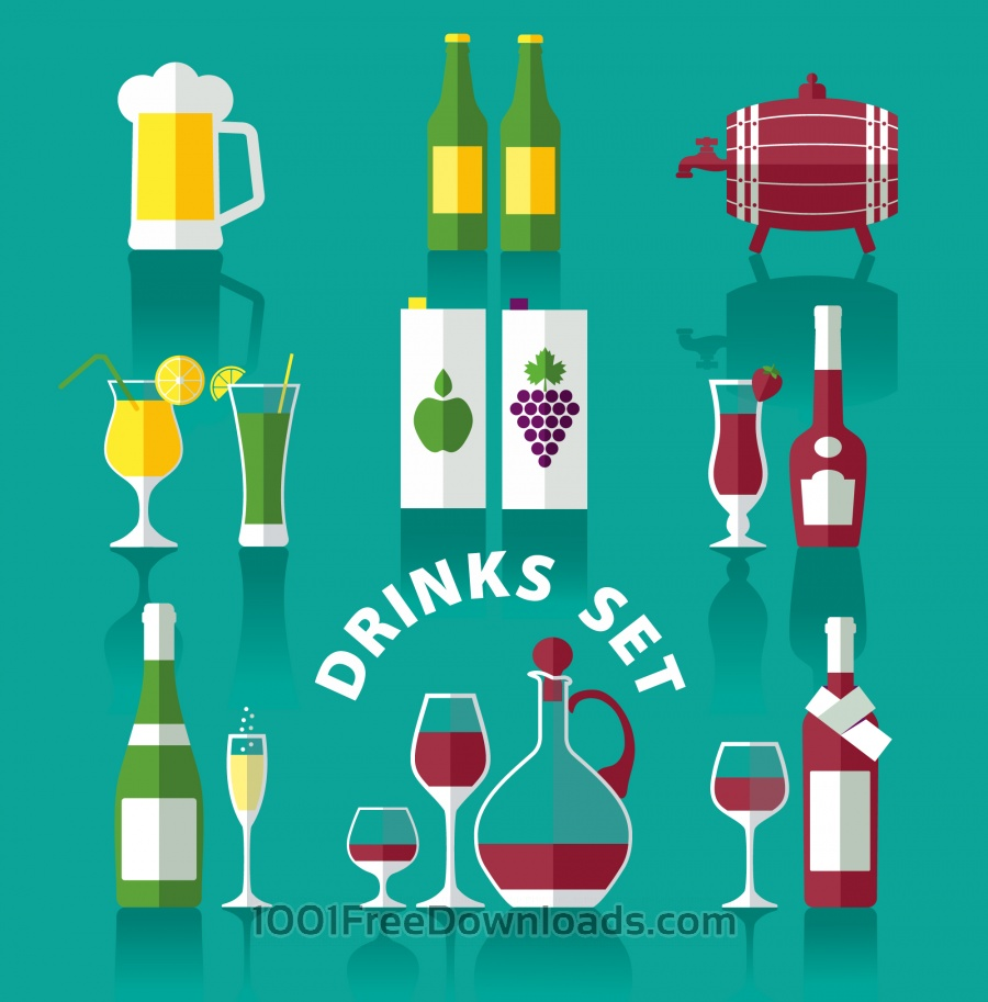 Free Vectors: Drink icons of flat style | Backgrounds