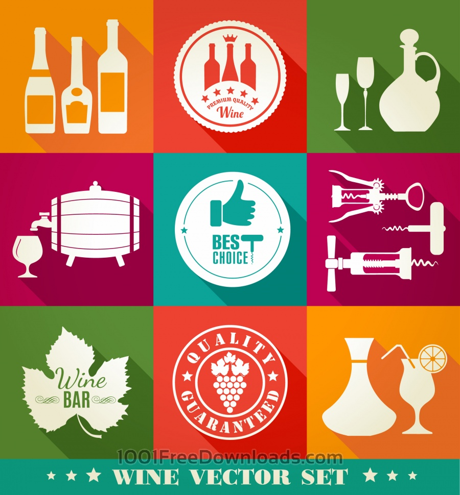 Free Vectors: Drink illustration of vine. Color flat icons. | Holidays