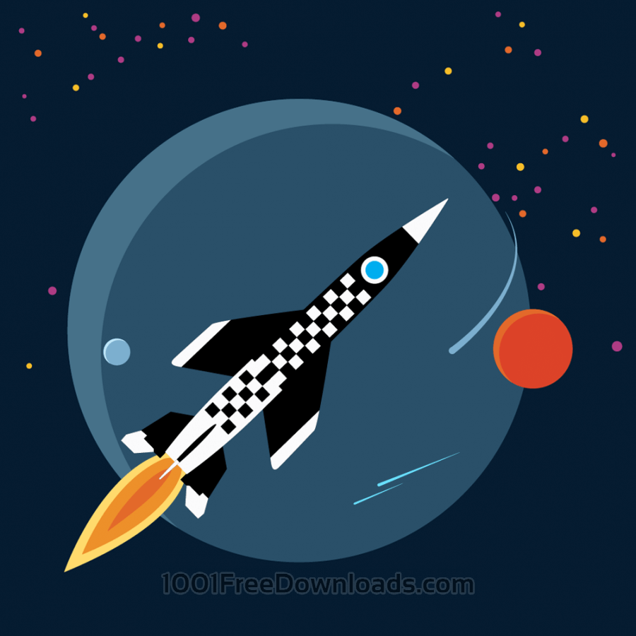 Free rocket in space