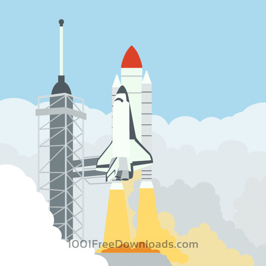 Free Vectors: Launching space shuttle | Technology