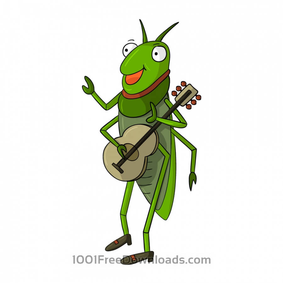 Free Vectors: Cricket Playing Guitar | Animals