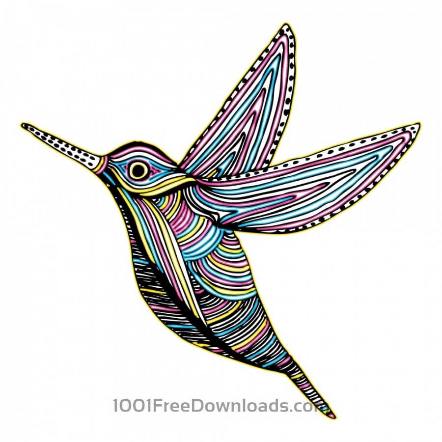 Free CMYK Colibri Bird Flying