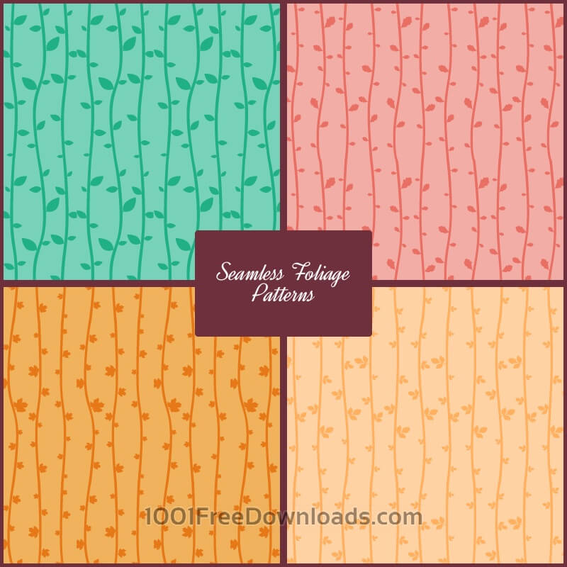 Free Vectors: Seamless Foliage Vector Patterns | Abstract