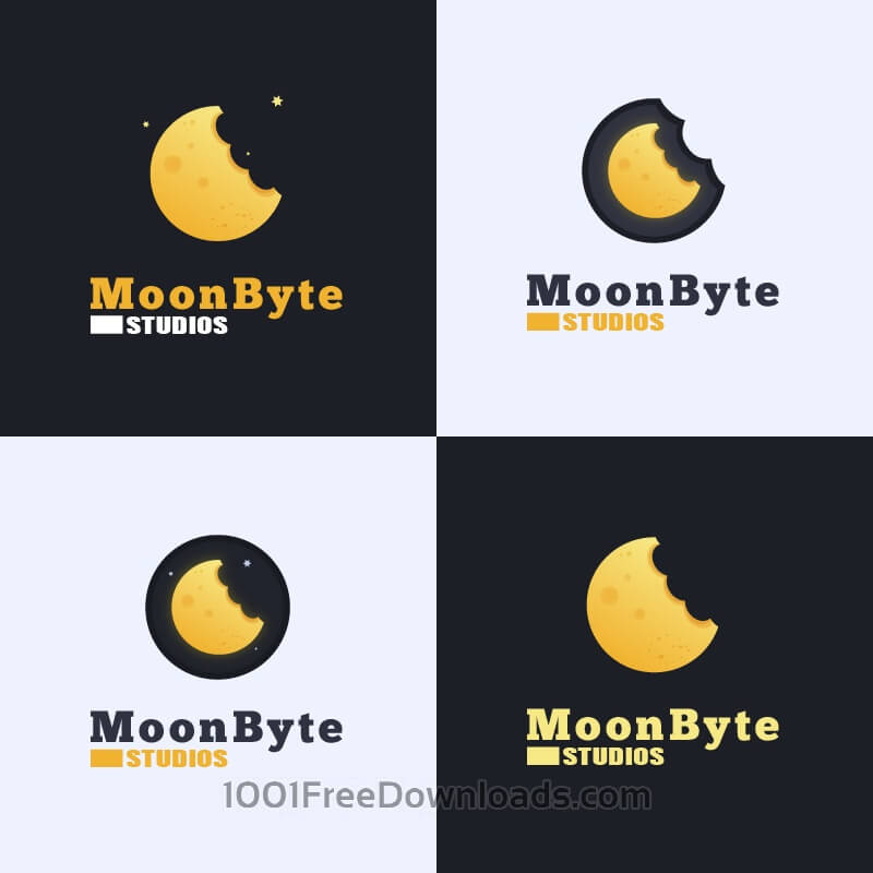 Free Vectors: Moon Byte Logo Design | Abstract
