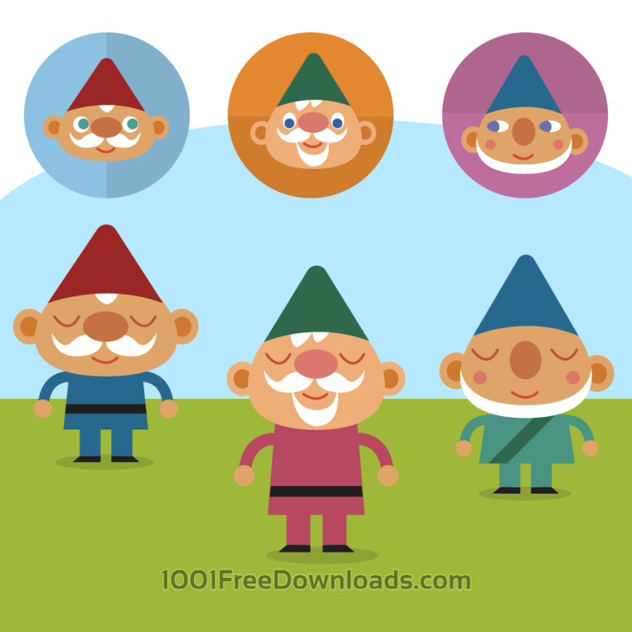 Free Vectors: Cute Gnomes on lawn vector set | Nature