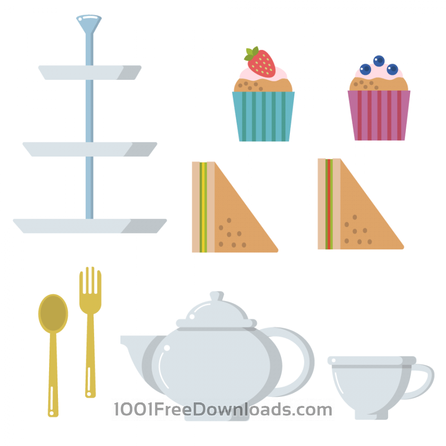 Free Tea time pot cup muffin sandwich vector set