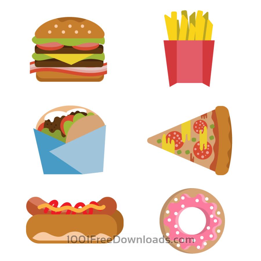 Free Vectors: Fast food burger fries hot dog donut flat vector set | Abstract