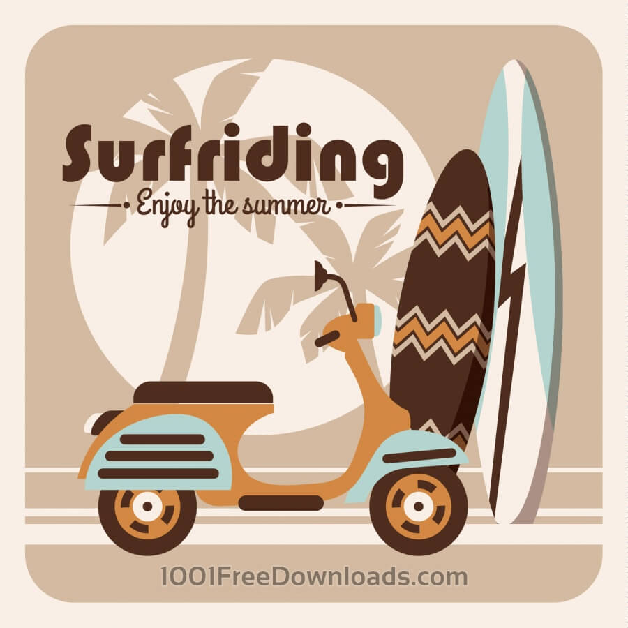 Free Vectors: Illustration of surfriding. | Abstract