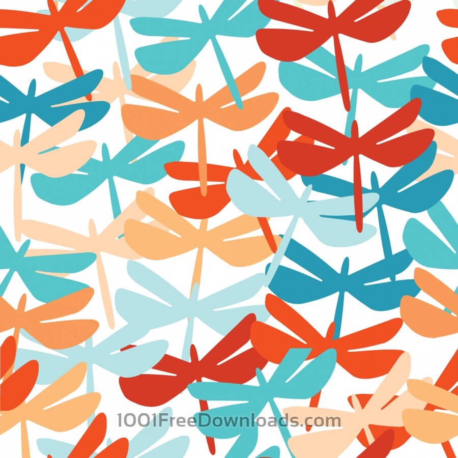 Free Summer seamless background with dragonfly.