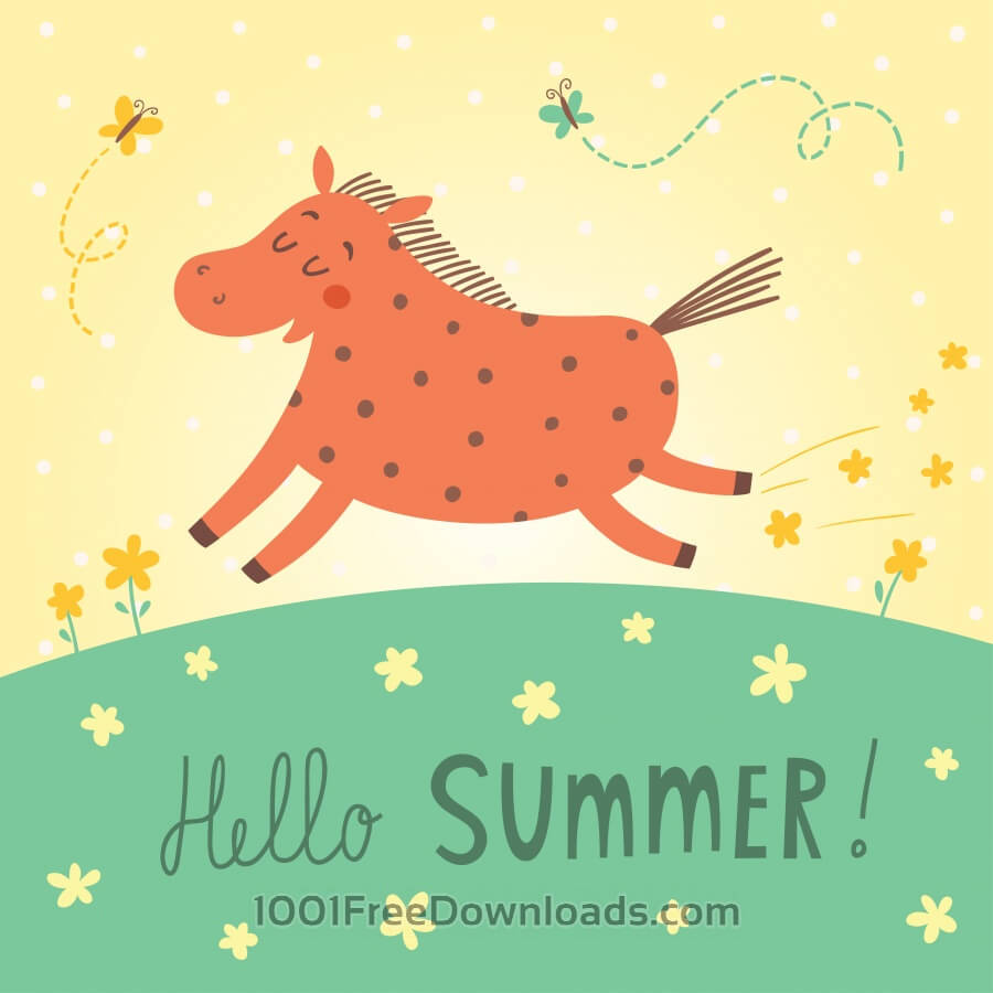 Free Hello summer vector card