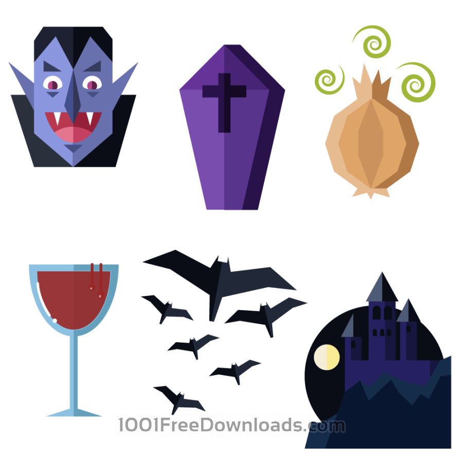 Free Dracula themed vector set