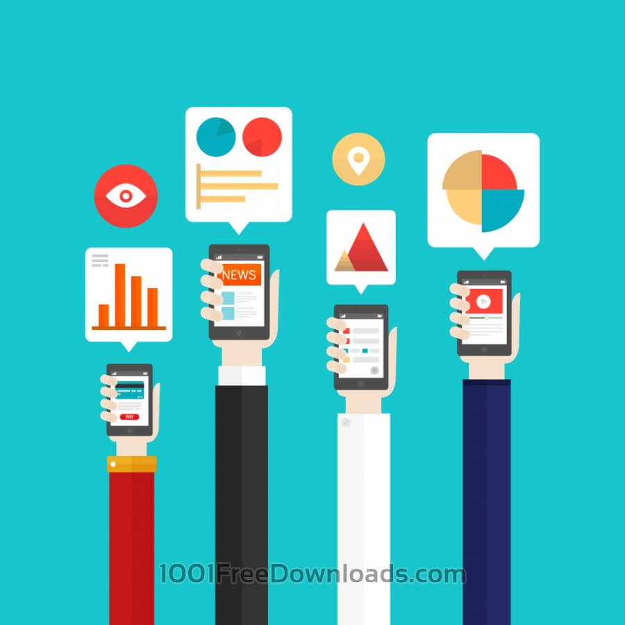 Free Vectors: Mobile Internet Analytics | Objects