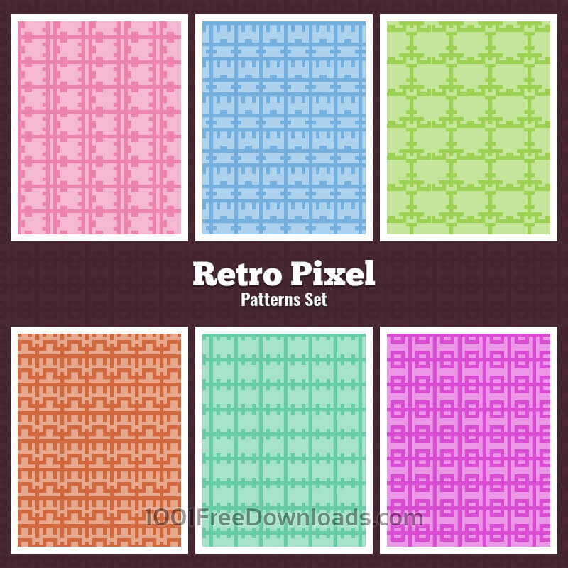 Free Vectors: Retro Pixel Patterns Set | Abstract