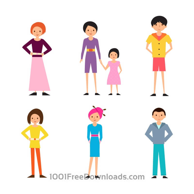 Free Vectors: Cartoon People Vectors Set | Cartoons