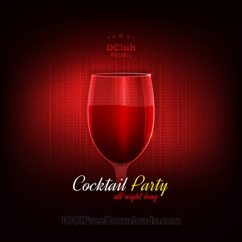 Free Cocktail Party Vector Invitation