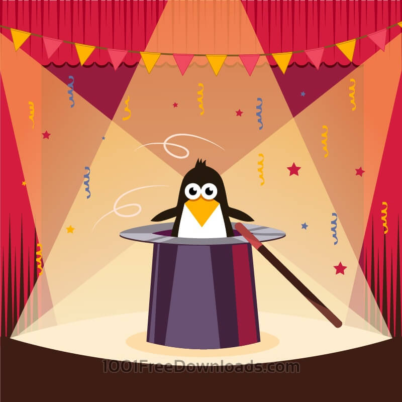 Free Vectors: Cute penguin on the stage | Backgrounds
