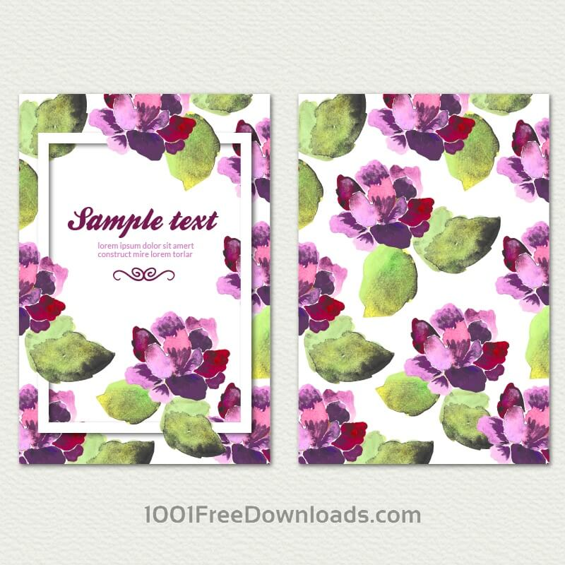 Free Vectors: Watercolor cover with flowers | Abstract