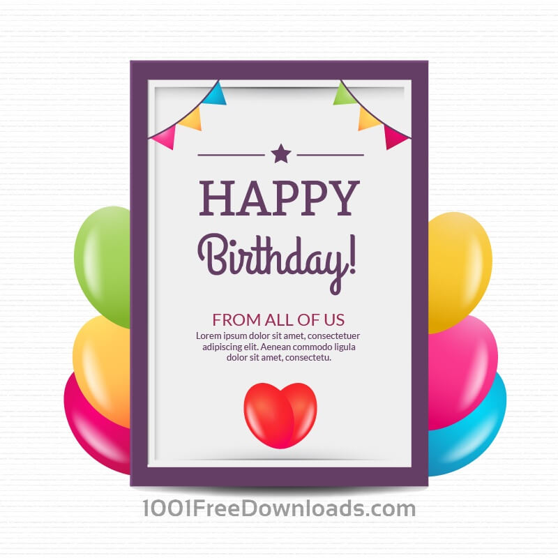 Free Happy birthday poster with balloons