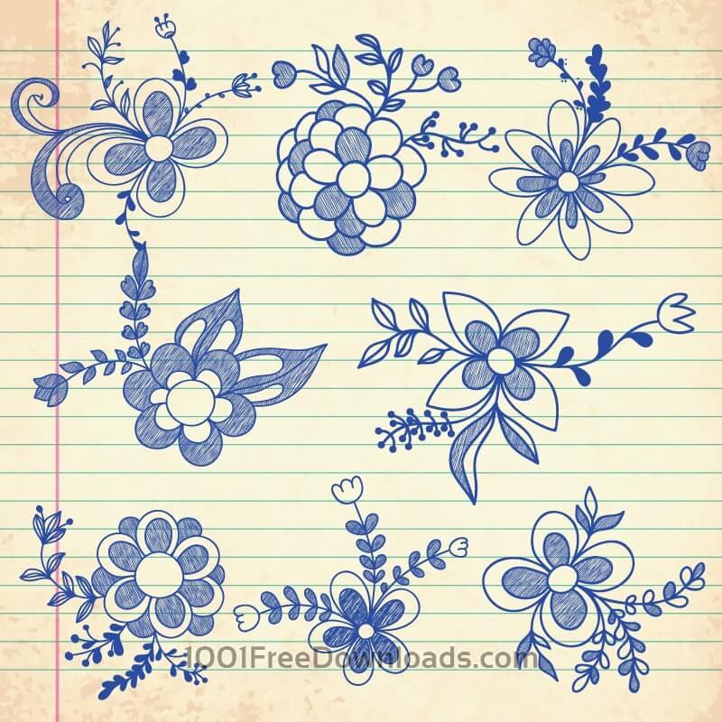 Free Vectors: Set of doodle flowers | Backgrounds