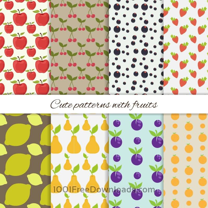 Free Vectors: Set of cute patterns with fruits | Abstract